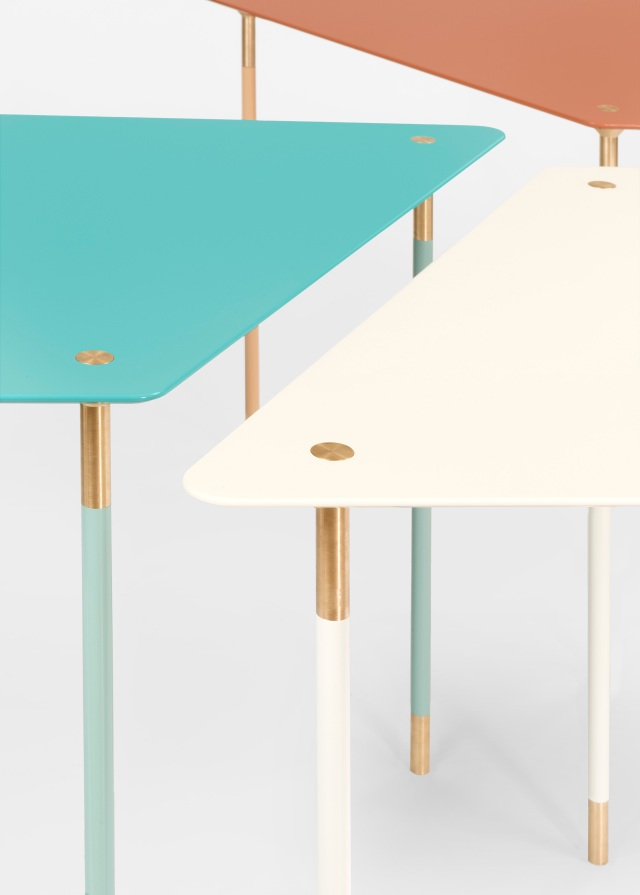 A close up of the modular tables