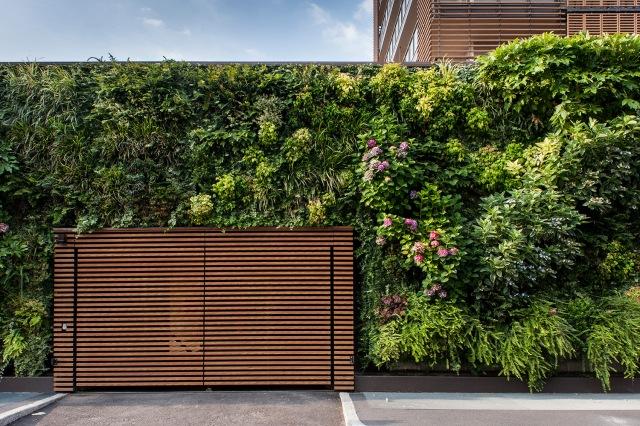 A green wall designed by Derek Castiglioni